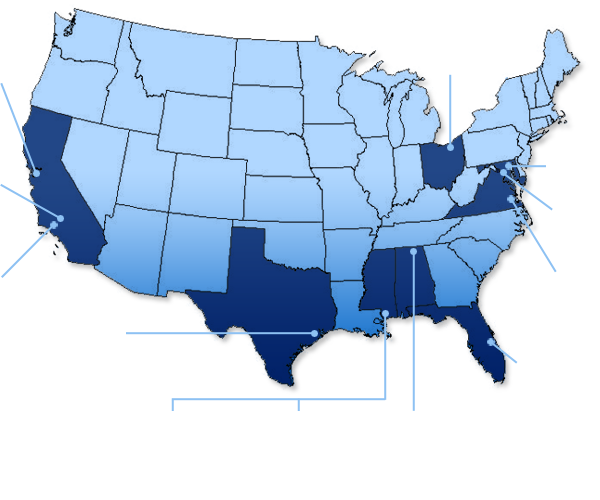 Us Map Of Nasa Small Business Centers